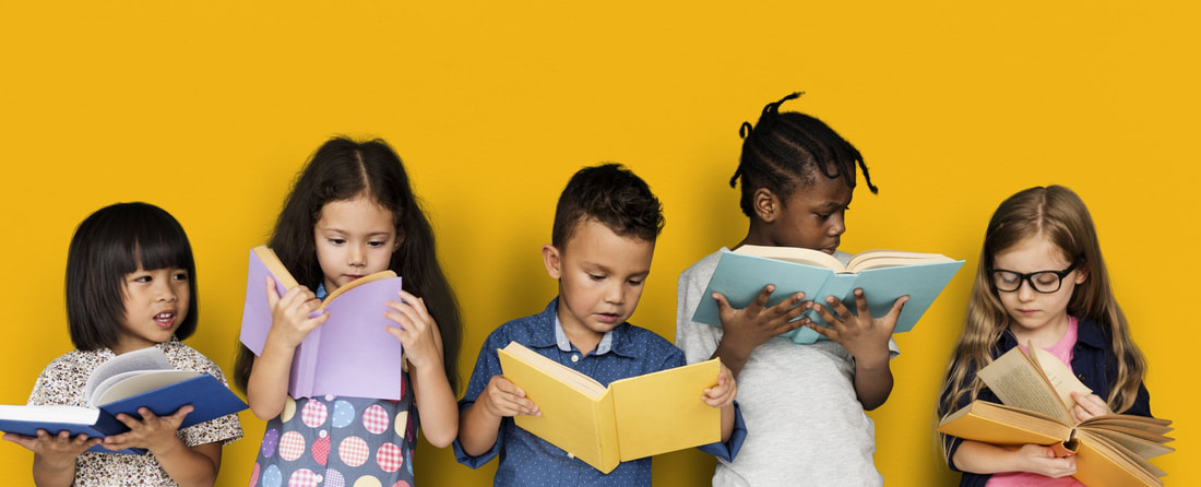 5 kids standing and reading books against a yellow background