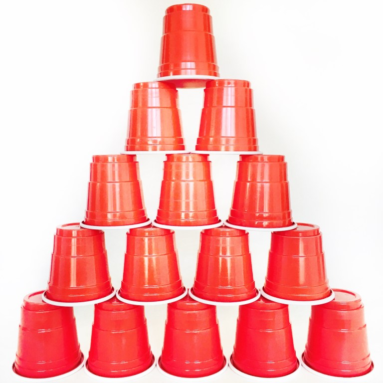 Stack of orange cups